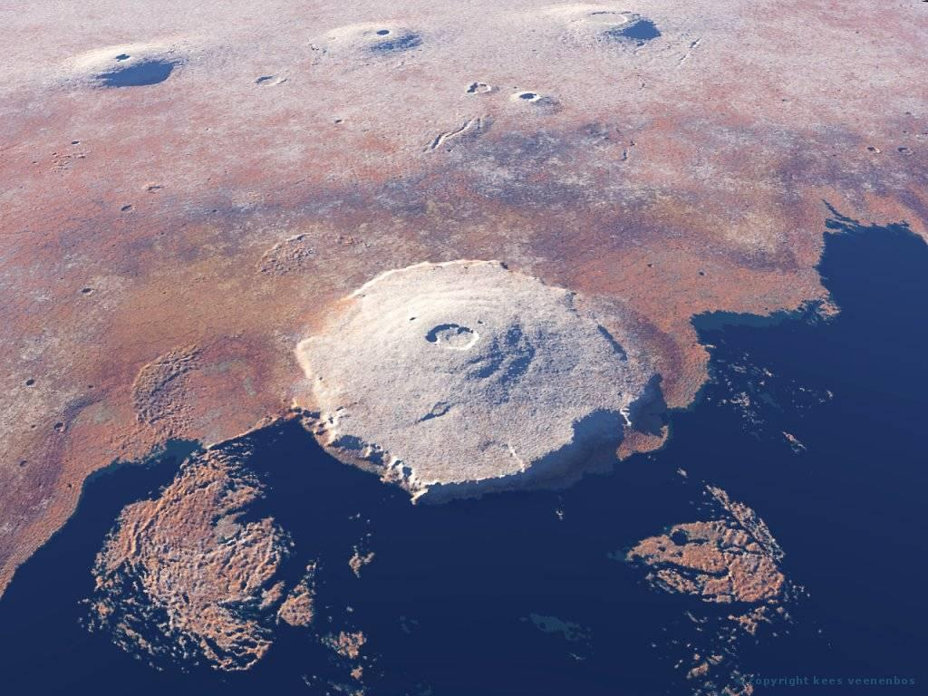 The Olympus Mons and the Tharsis Montes: Asrcaeus Mons, Pavonis Mons ...
